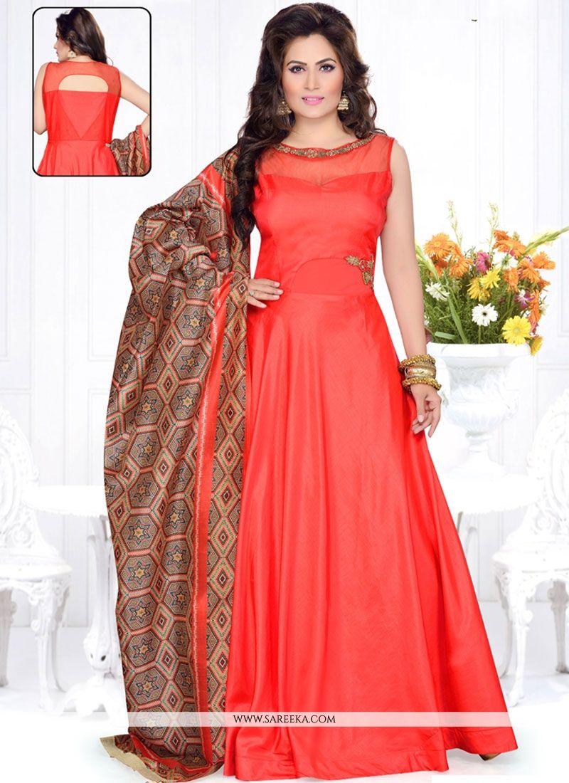 Buy Raw Silk Red Anarkali Suit Online : Malaysia - Salwar Kameez