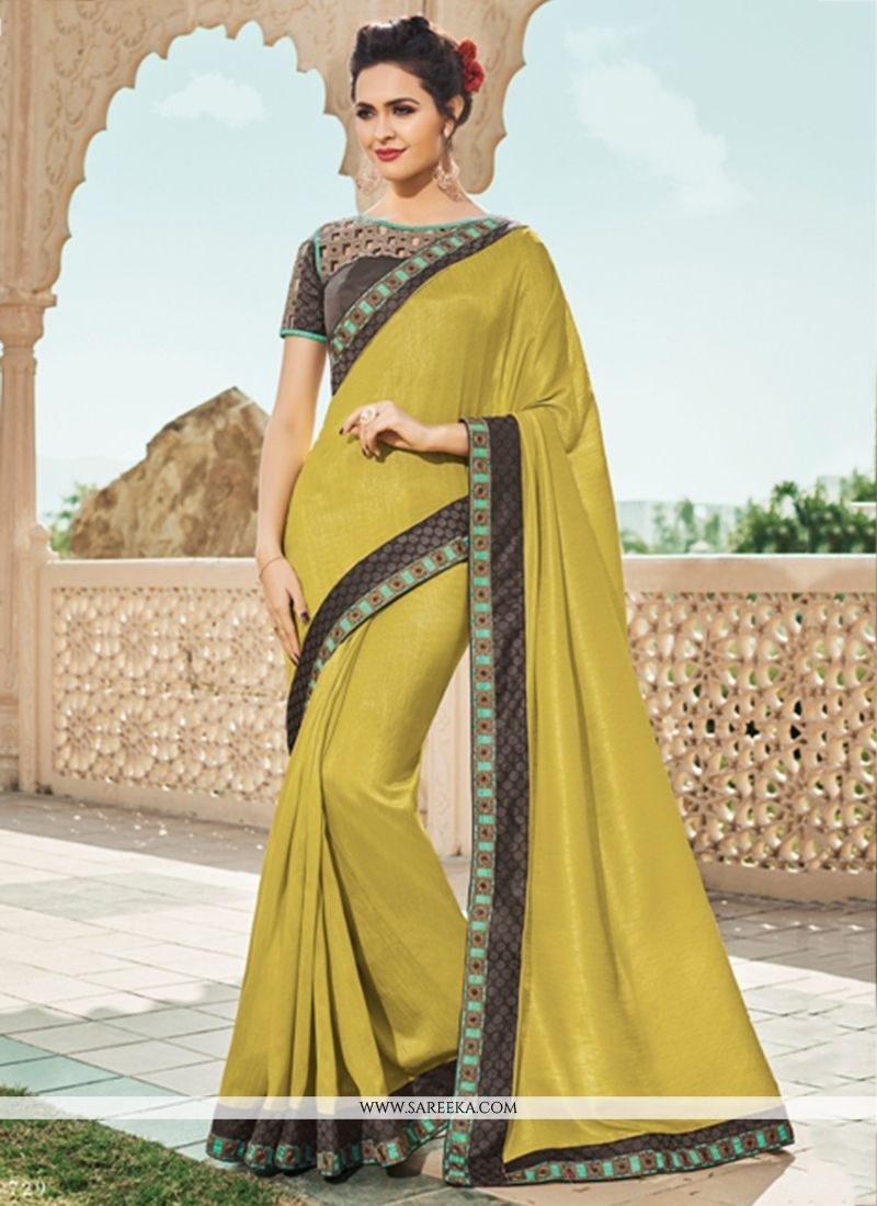 Faux Georgette Yellow Designer Saree