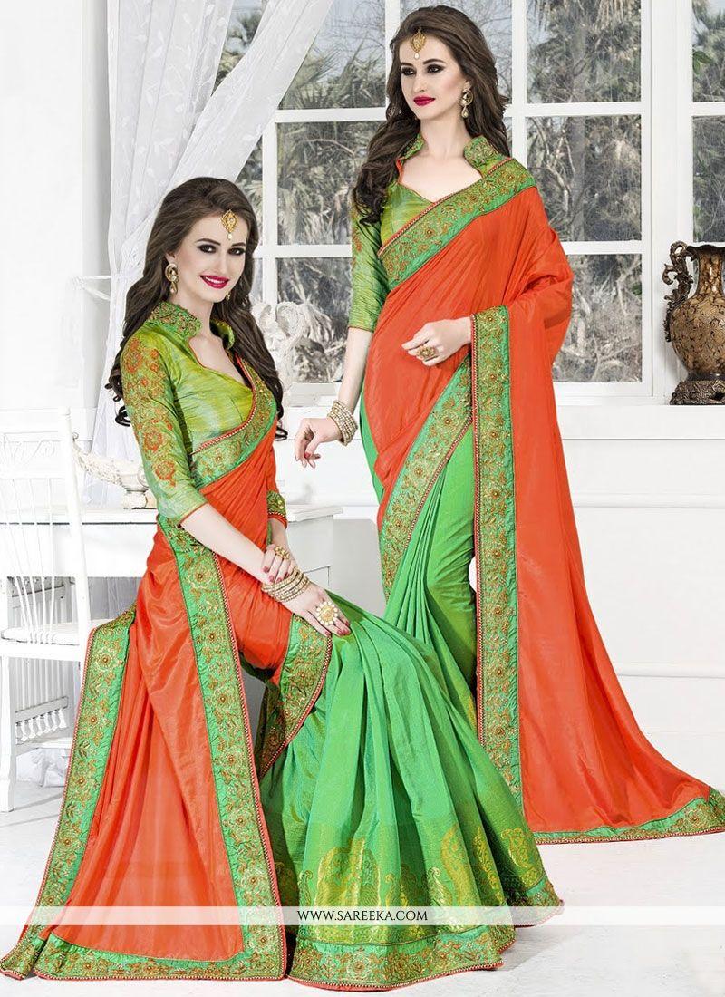 Green and Orange Resham Work Art Silk Designer Half N Half Saree