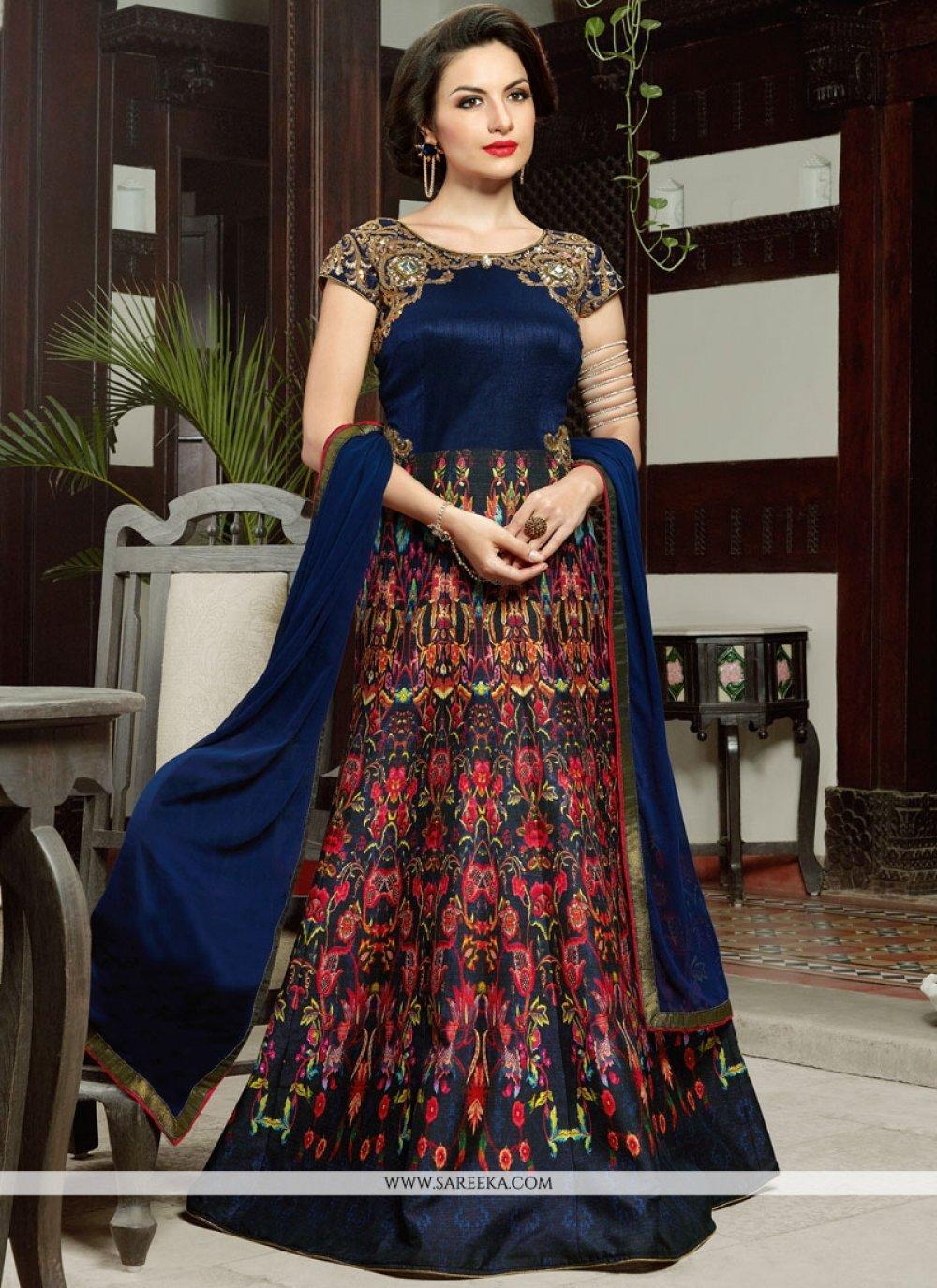 Digital Print Work Navy Blue Floor Length Anarkali Salwar Suit