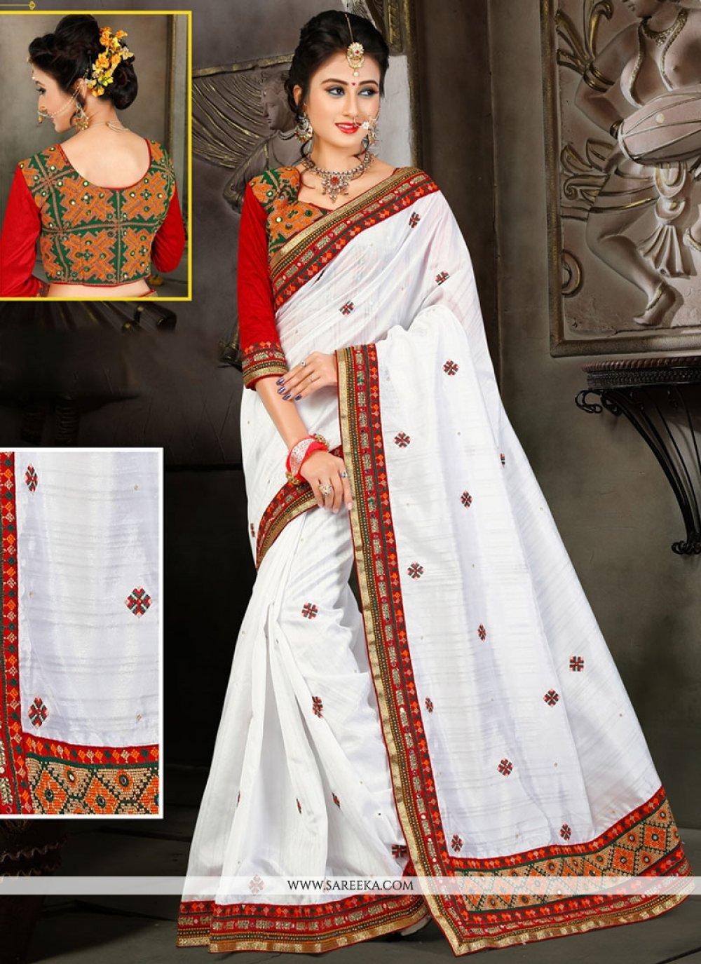 White Embroidered Work Designer Traditional Saree