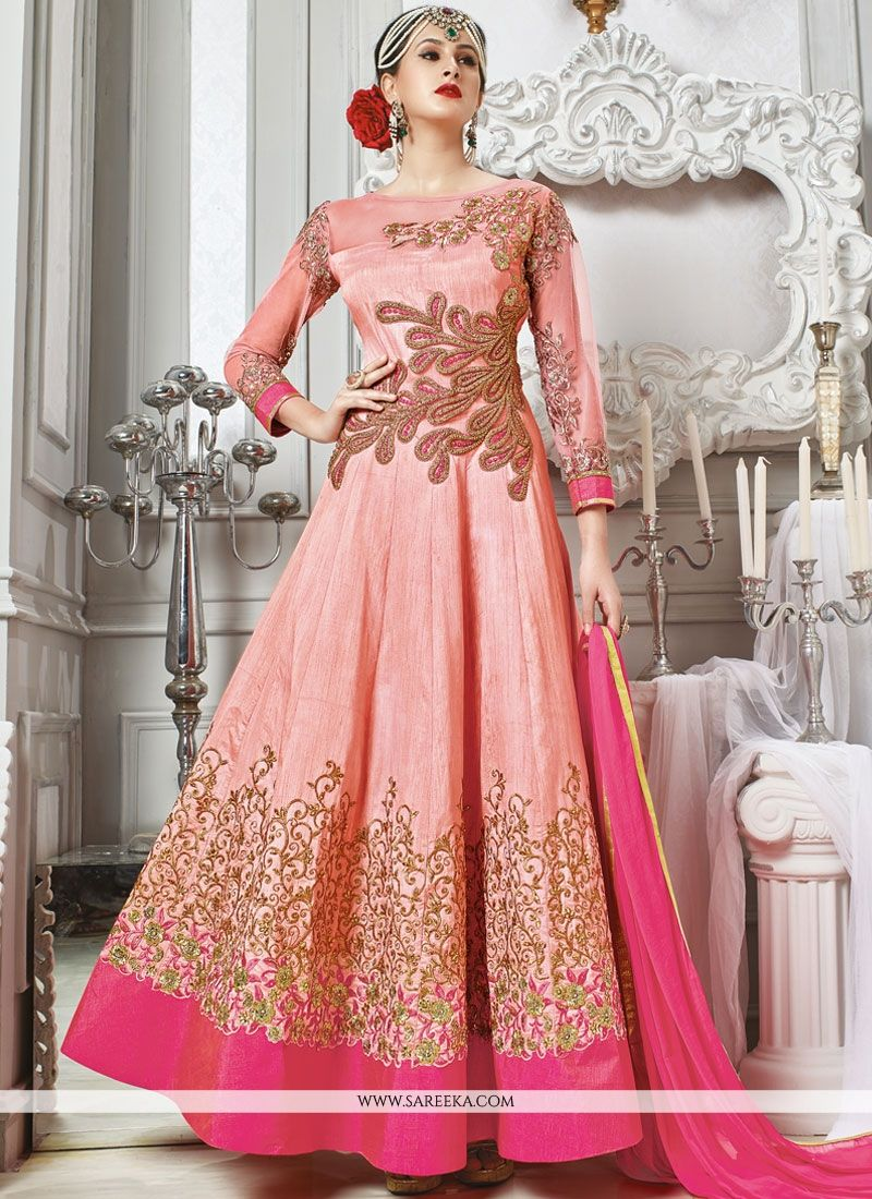 Art Silk Patch Border Work Designer Floor Length Suit