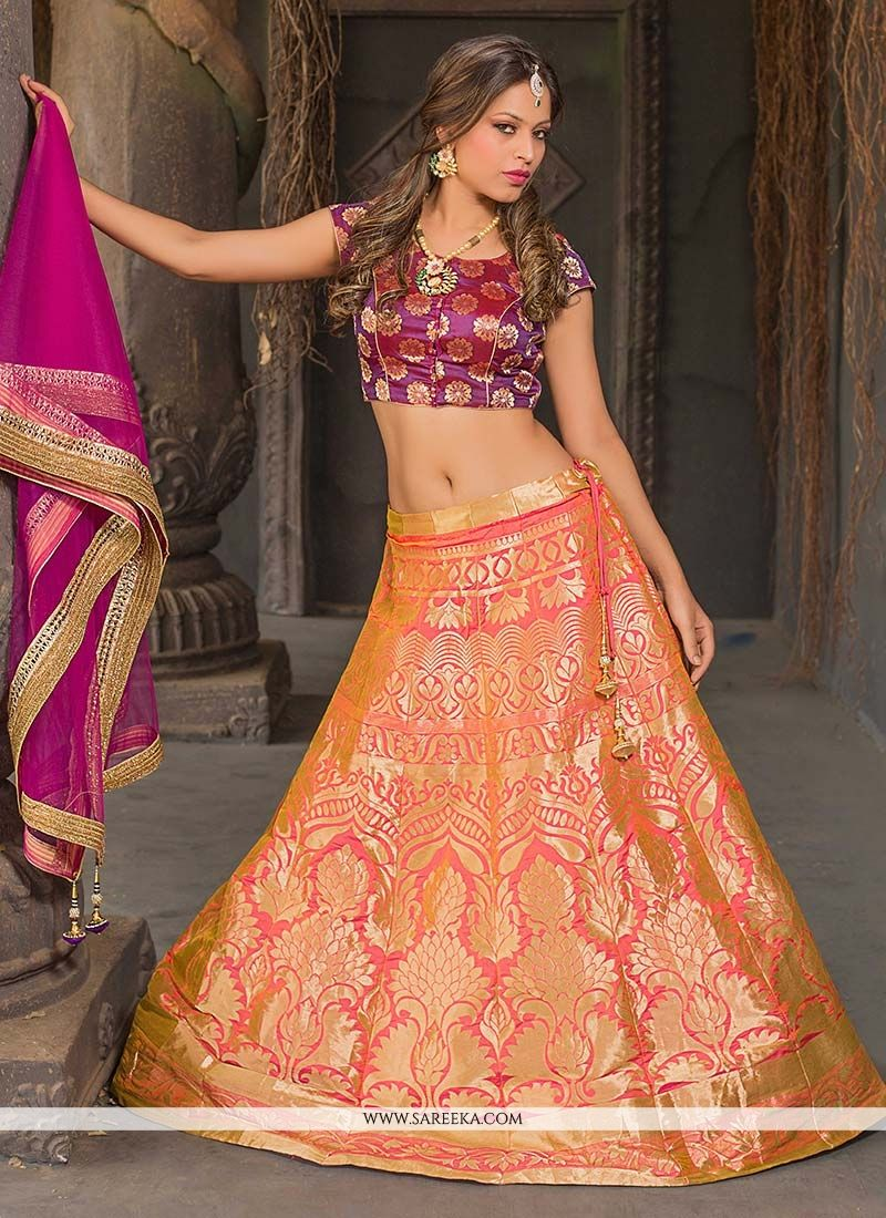 Jacquard Silk Peach and Orange Floral Patterns Work Lehenga Choli