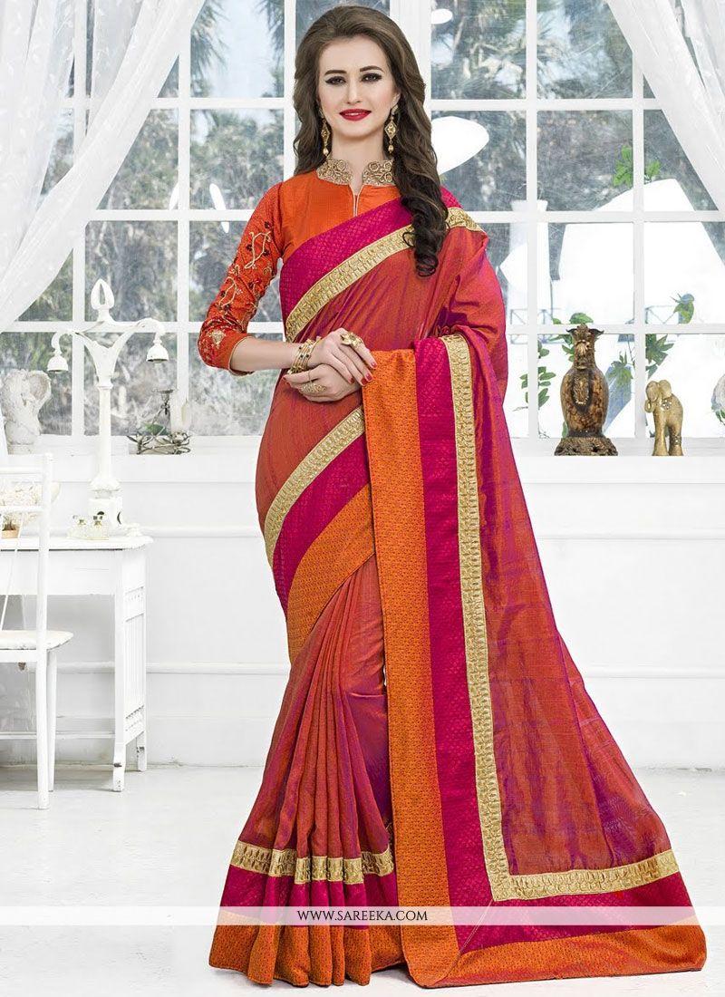 Art Silk Orange Traditional  Saree