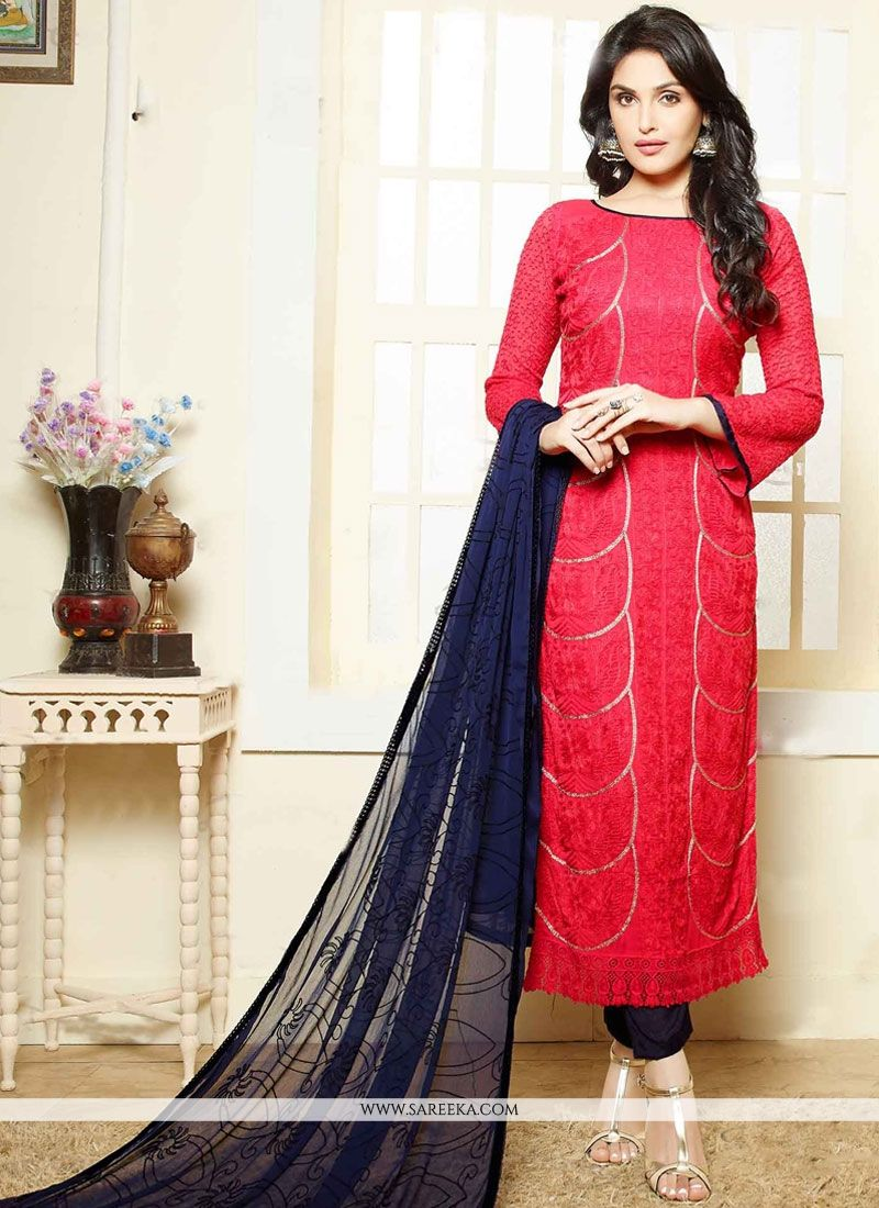 Hot Pink Embroidered Work Faux Chiffon Churidar Suit