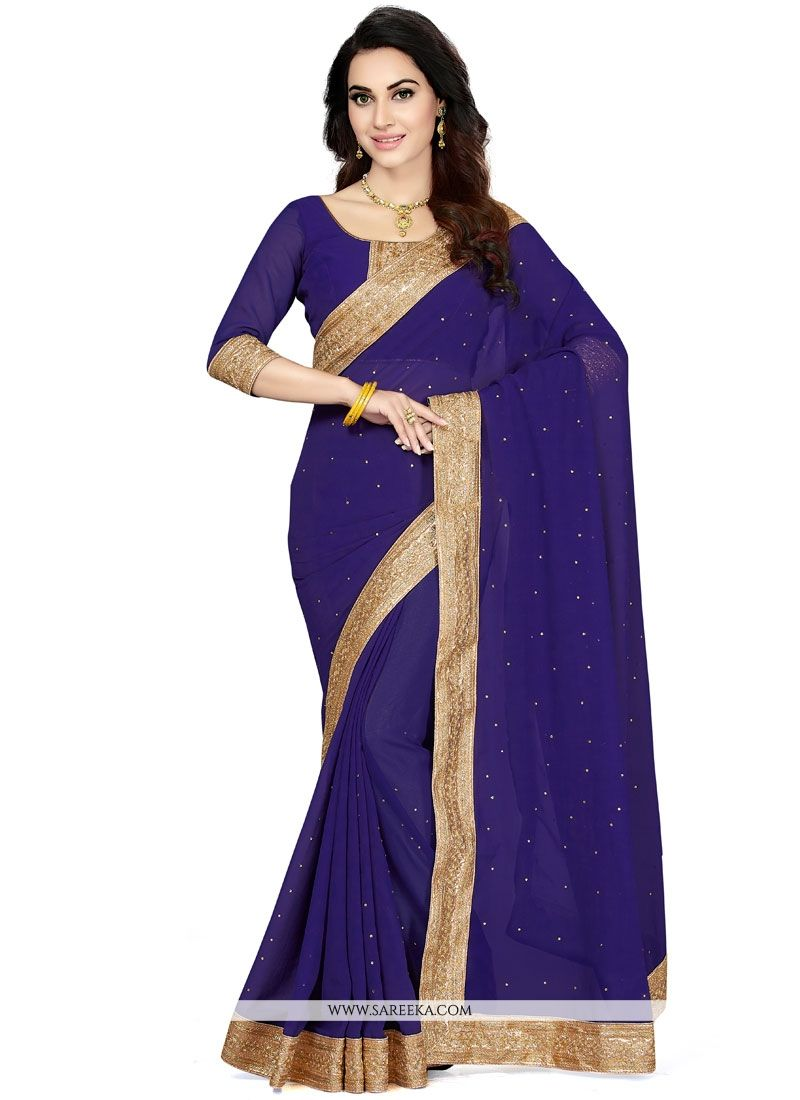Navy Blue Designer Saree