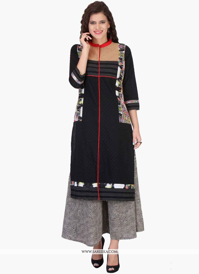 Print Work Black Party Wear Kurti