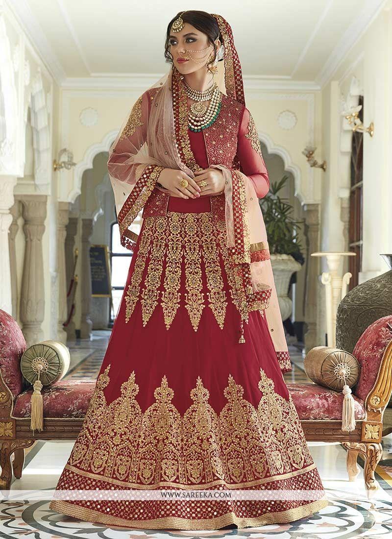 Red Embroidered Work Floor Length Anarkali Suit
