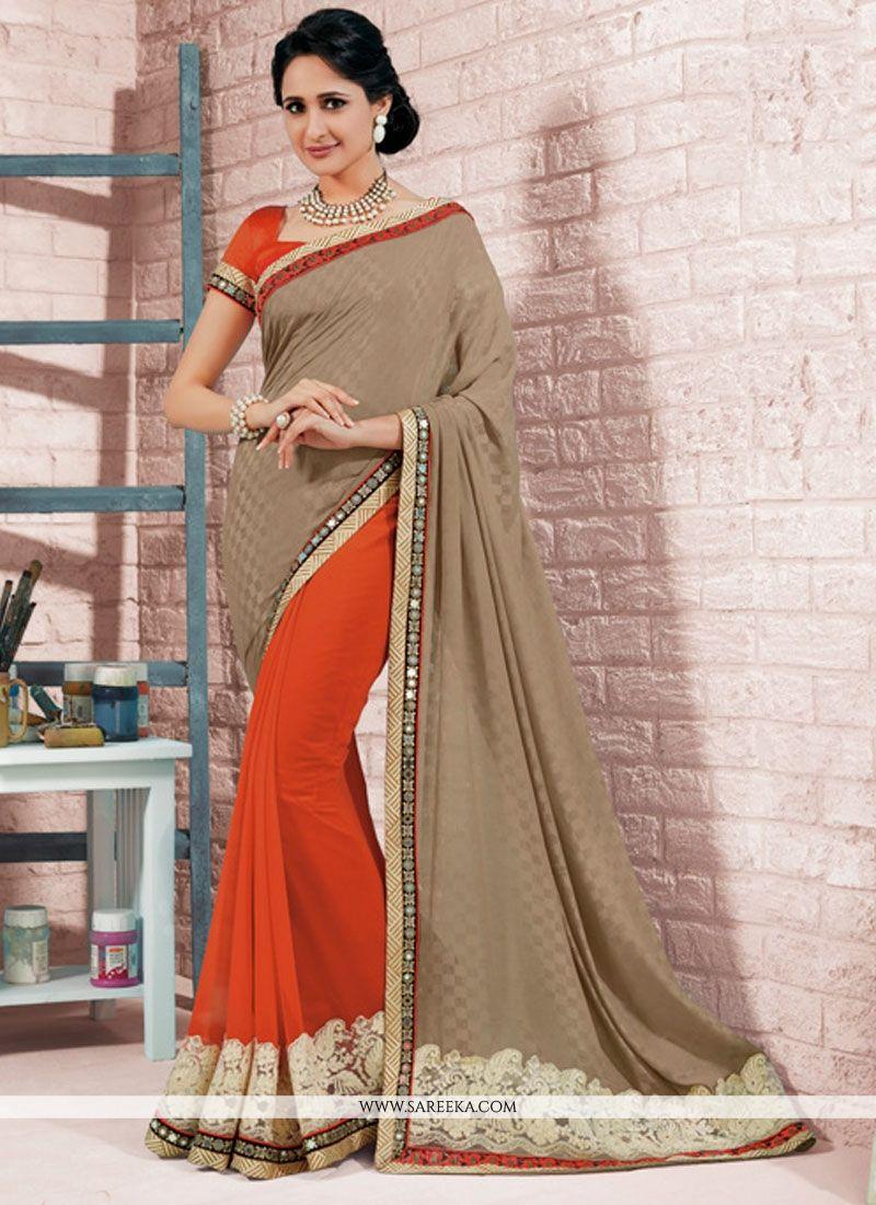 Red Resham Work Georgette Designer Saree