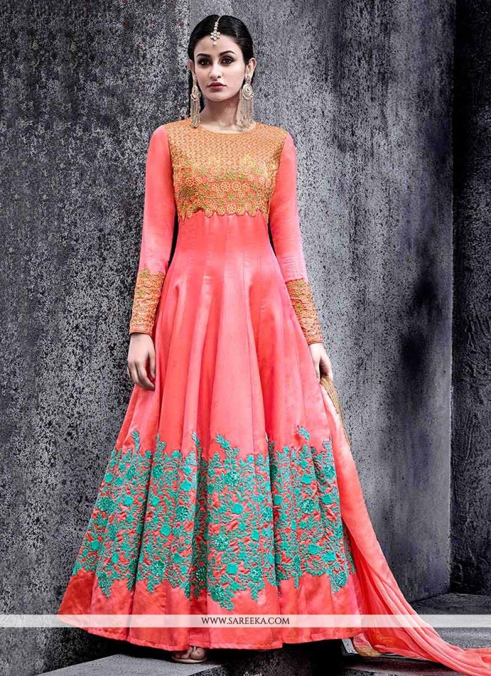 Rose Pink Floor Length Anarkali Suit