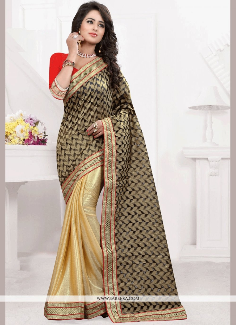 Jacquard Black and Gold Half N Half Designer Saree