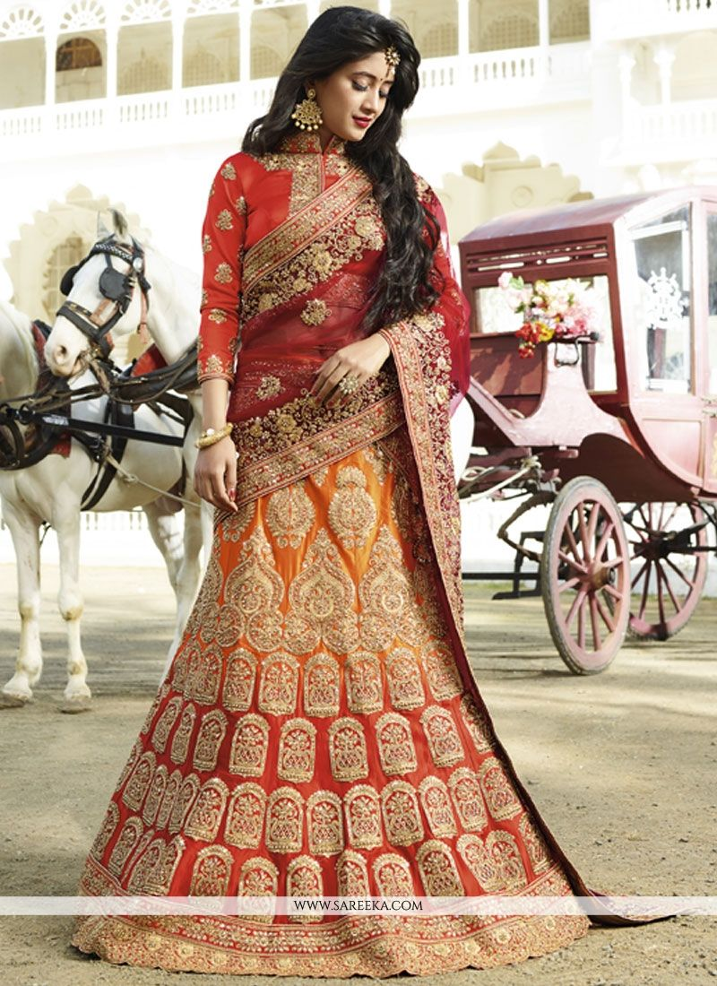 Satin Silk Red and Orange Resham Work Lehenga Choli