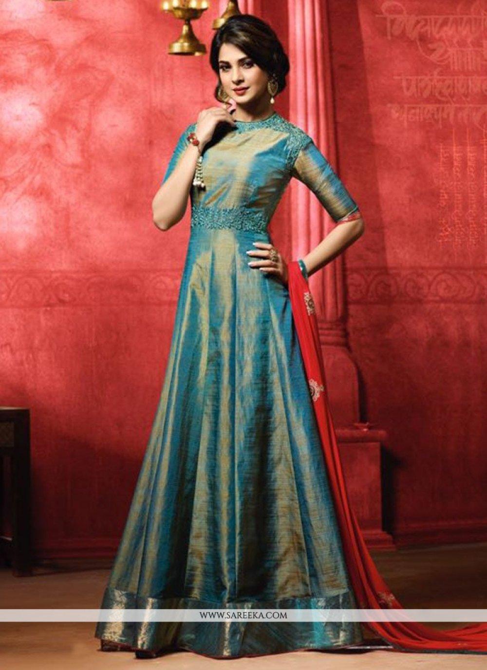 Jennifer Winget Banarasi Silk Embroidered Work Floor Length Anarkali Suit