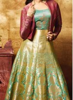 Jennifer Winget Banarasi Silk Floor Length Anarkali Suit