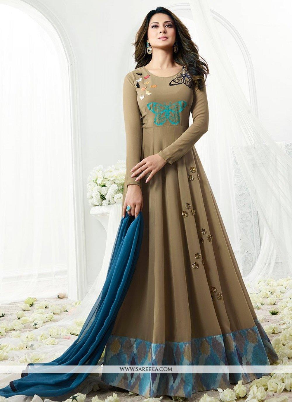 Jennifer Winget Embroidered Work Brown Faux Georgette Floor Length Anarkali Suit