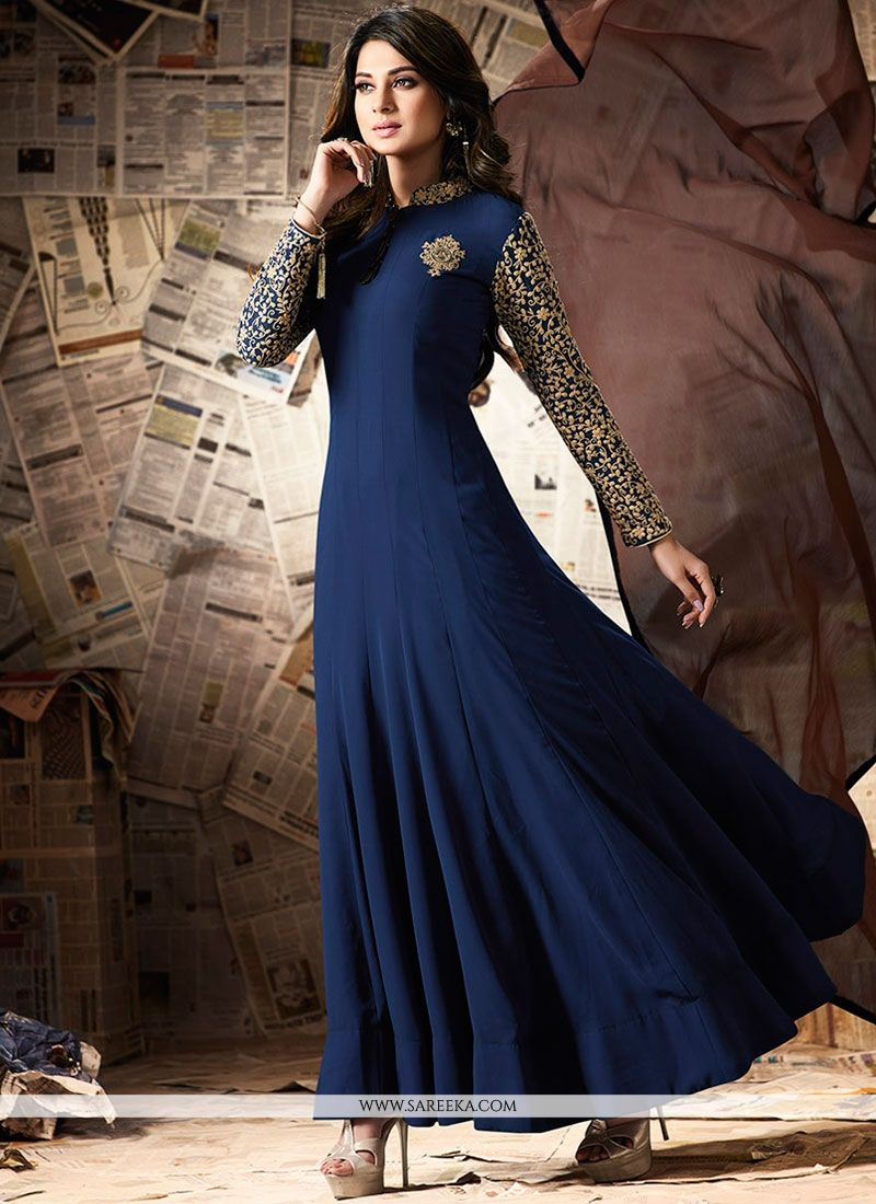 Buy Jennifer Winget Navy Blue Floor Length Anarkali Suit ...