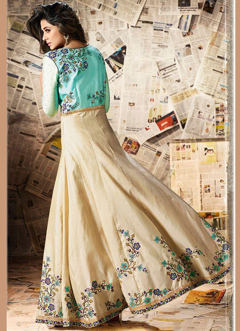 Buy Jennifer Winget Turquoise and Yellow Zari Work Floor ...