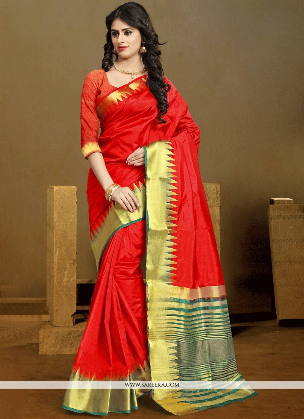 Kanchipuram silk Red Traditional  Saree