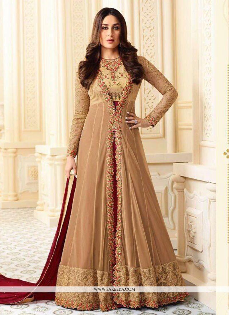 Kareena Kapoor Beige and Maroon Faux Georgette Floor Length Anarkali Suit