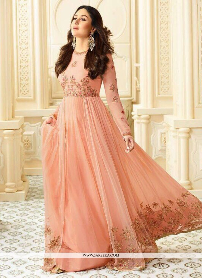 Kareena Kapoor Peach Faux Georgette Floor Length Anarkali Suit