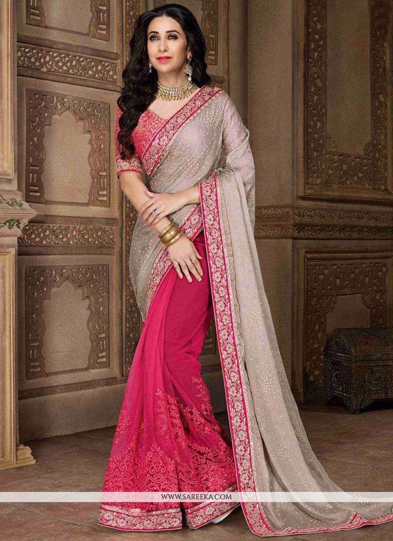 Karishma Kapoor Faux Chiffon Designer Half N Half Saree