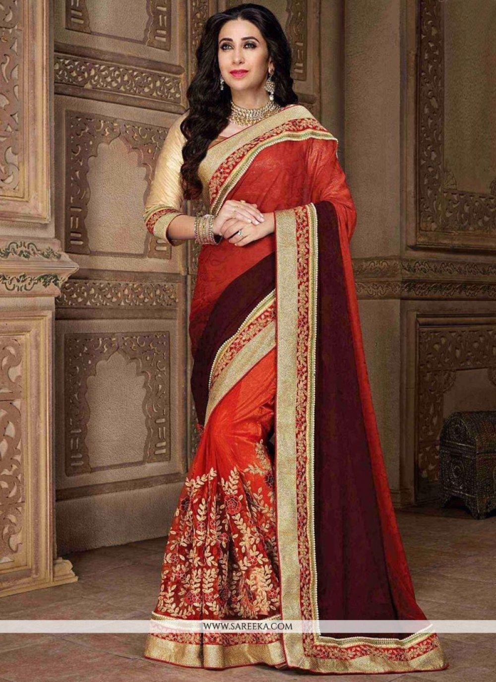Karishma Kapoor Maroon and Red Designer Half N Half Saree