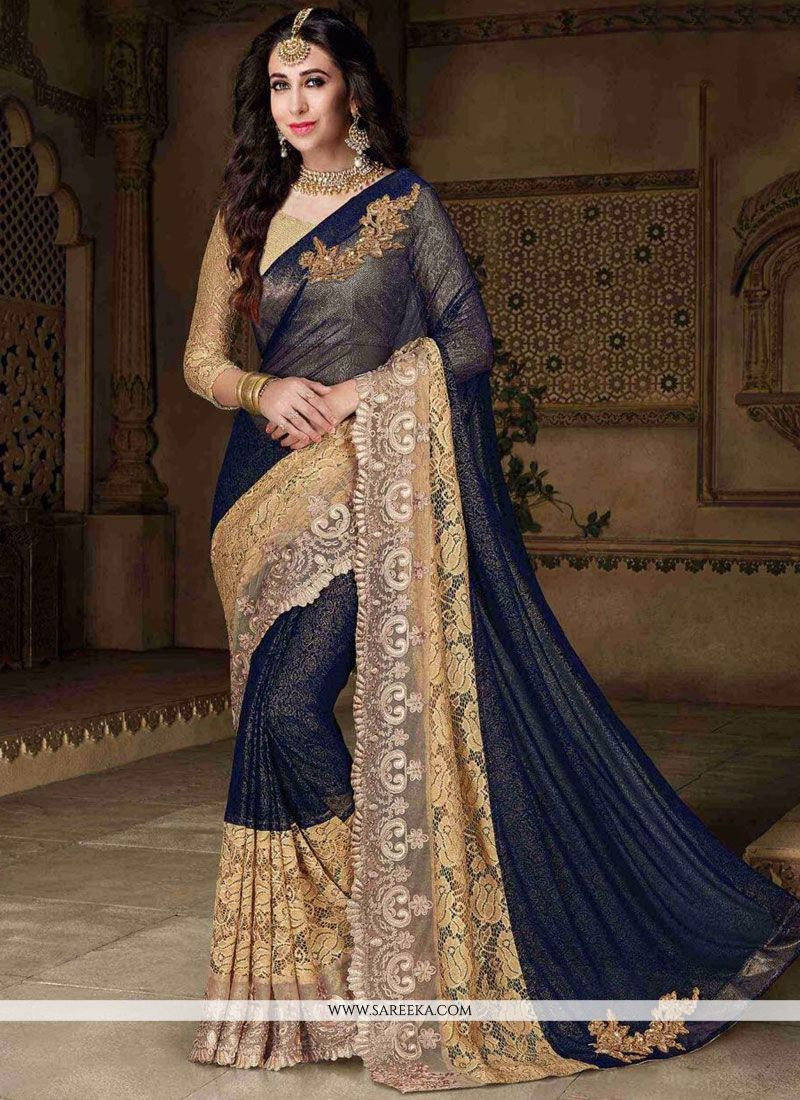 Karishma Kapoor Navy Blue Embroidered Work Classic Designer Saree