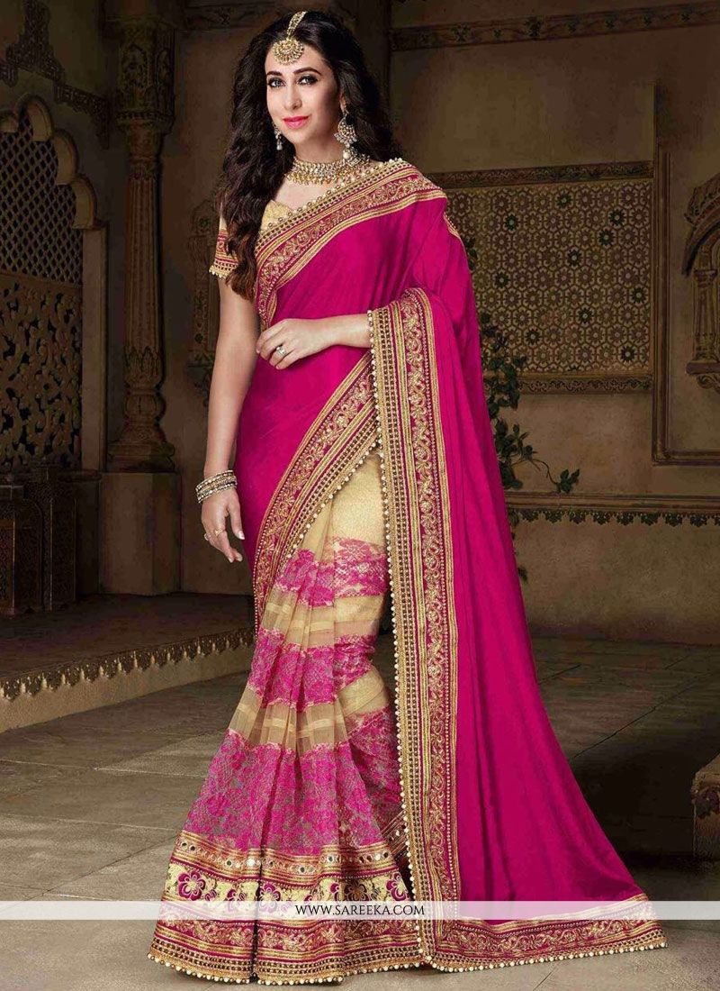 Karishma Kapoor Patch Border Work Designer Half N Half Saree