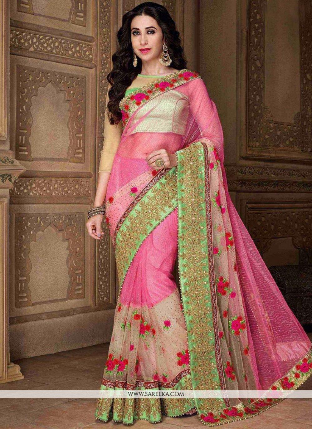 Karishma Kapoor Pink Net Zari Work Classic Designer Saree