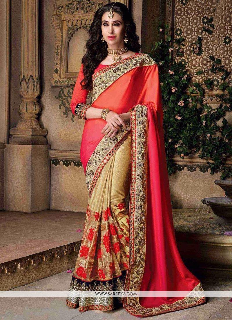 Karishma Kapoor Satin Silk Designer Half N Half Saree