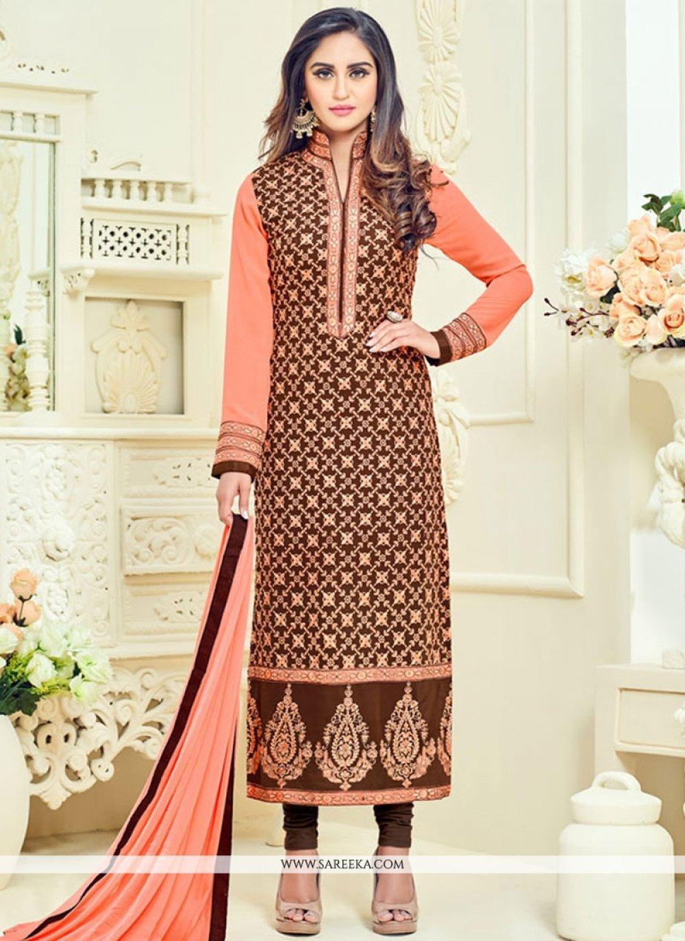 Krystle Dsouza Embroidered Work Brown Churidar Designer Suit