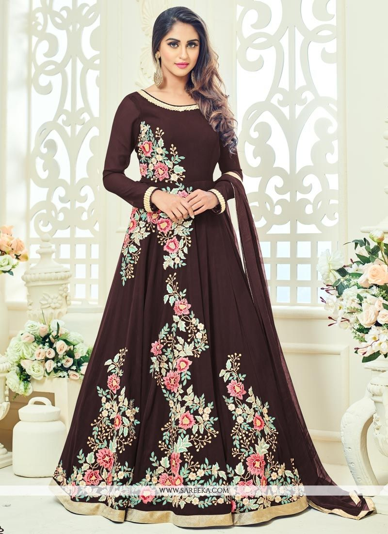 Krystle Dsouza Embroidered Work Brown Floor Length Anarkali Suit
