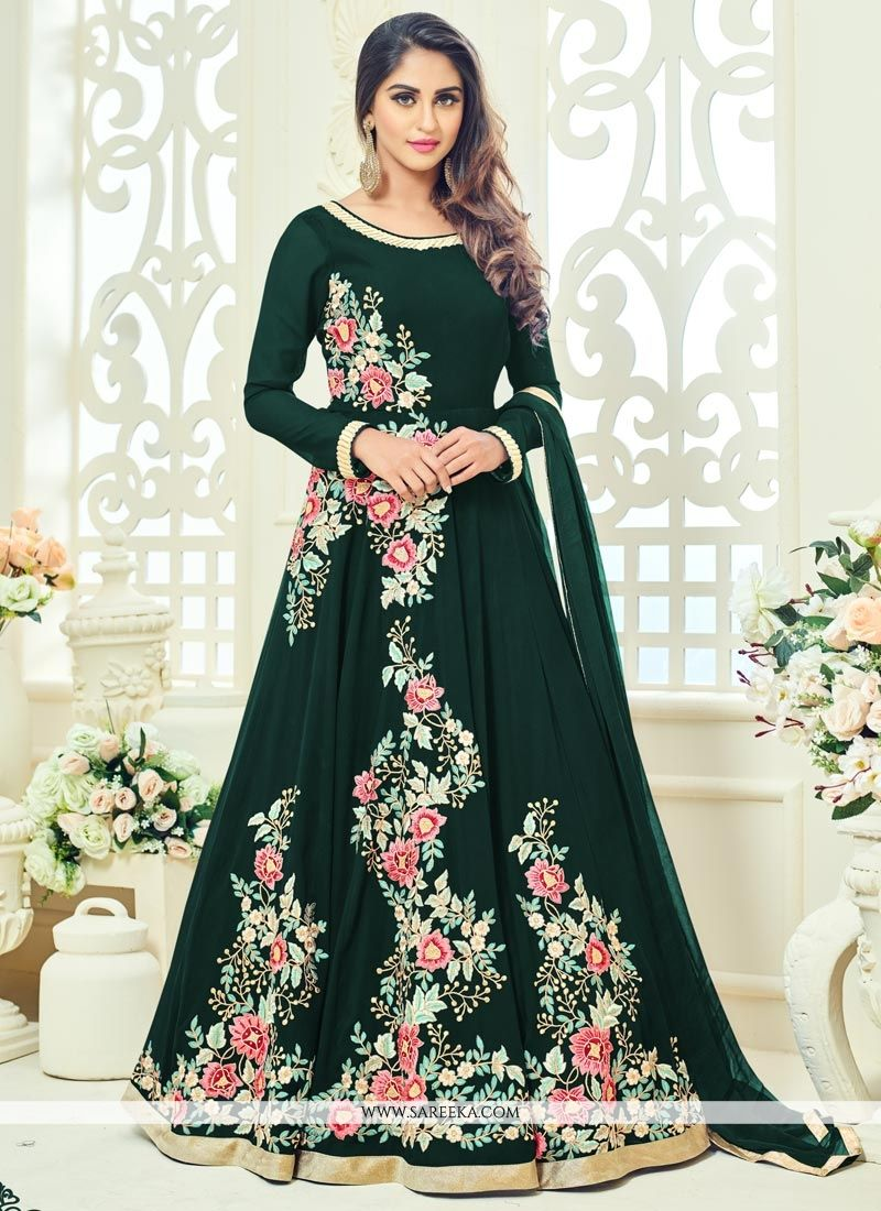 Krystle Dsouza Faux Georgette Resham Work Floor Length Anarkali Suit