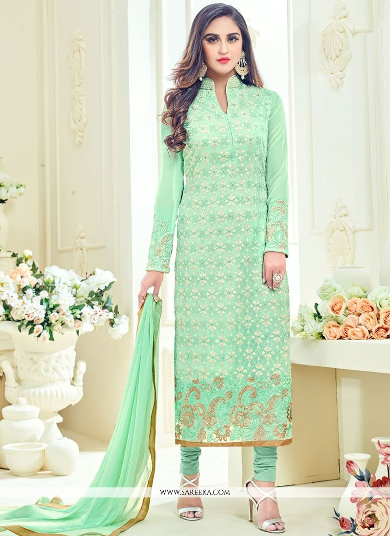 Krystle Dsouza Faux Georgette Sea Green Churidar Designer Suit