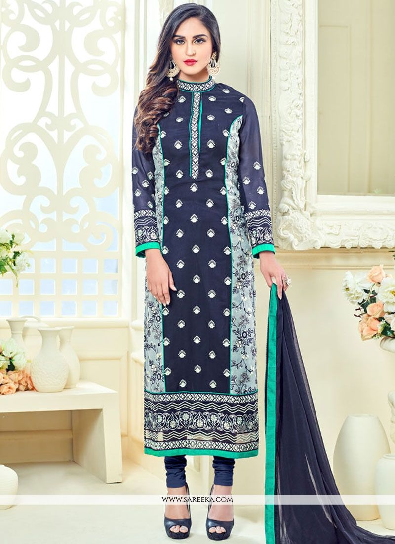 Krystle Dsouza Lace Work Navy Blue Churidar Designer Suit