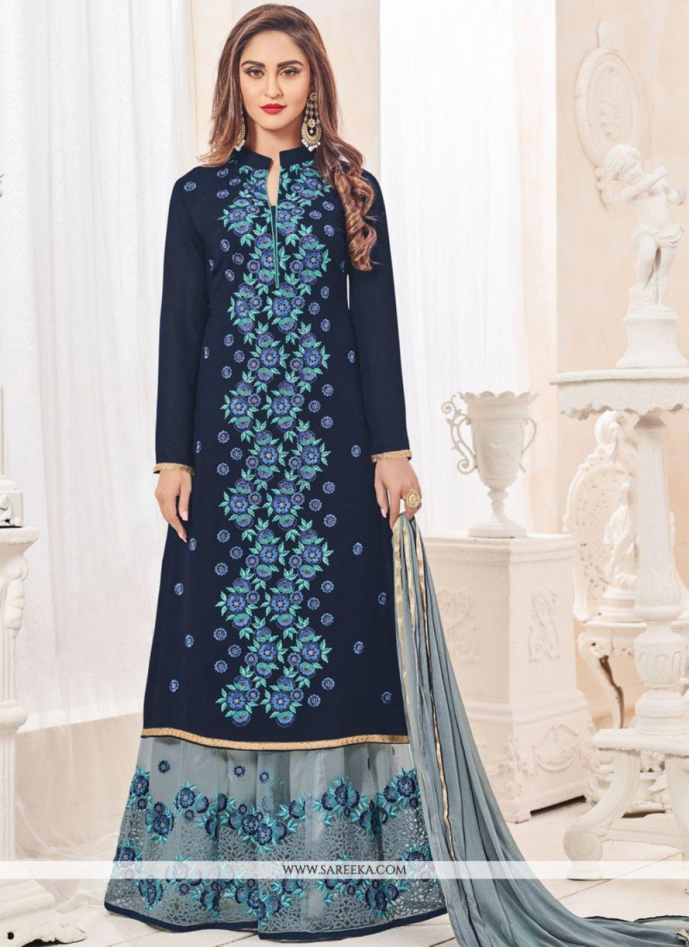 Krystle Dsouza Navy Blue Faux Georgette Designer Palazzo Suit