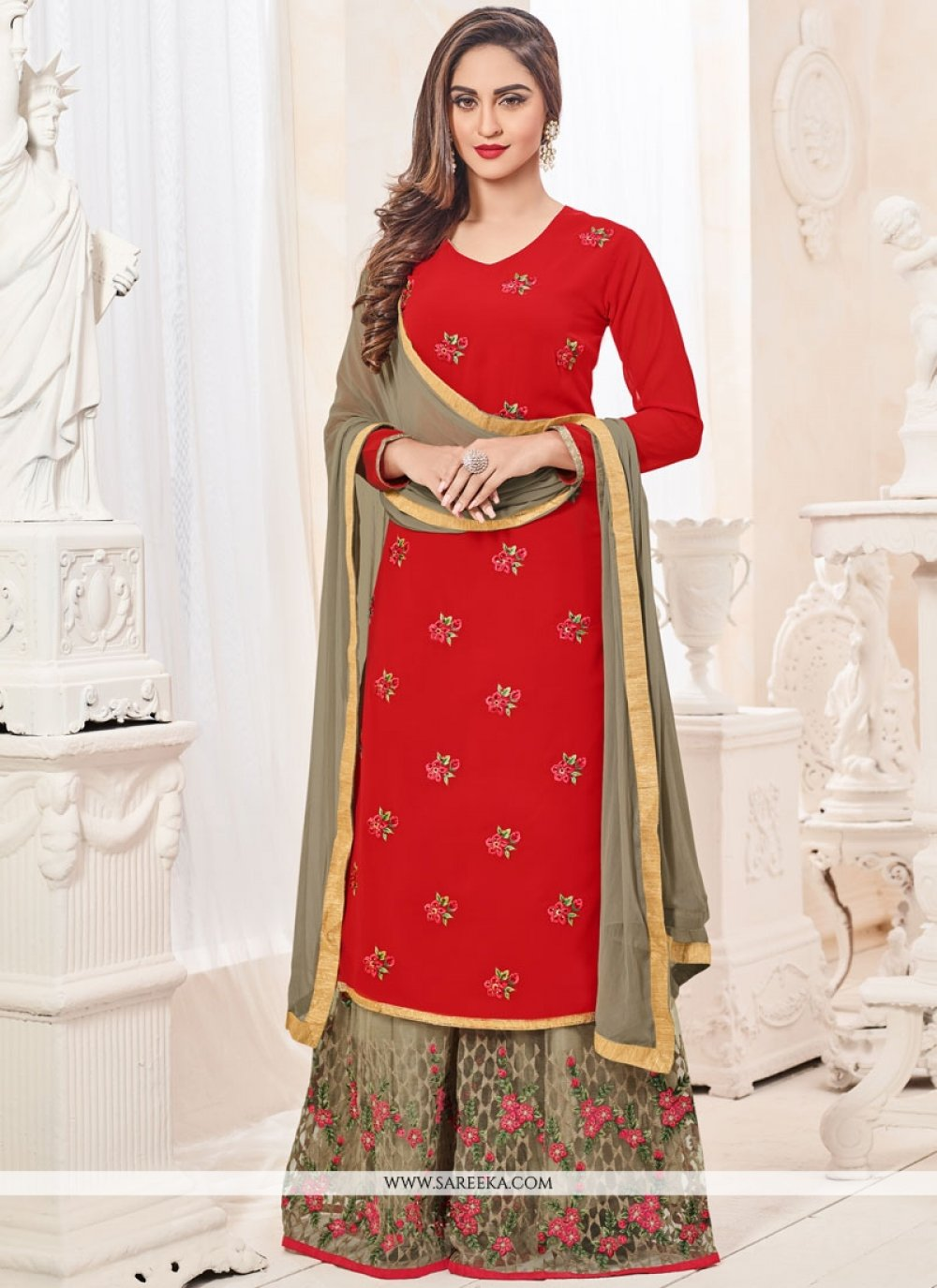 Krystle Dsouza Red Faux Georgette Embroidered Work Designer Palazzo Suit