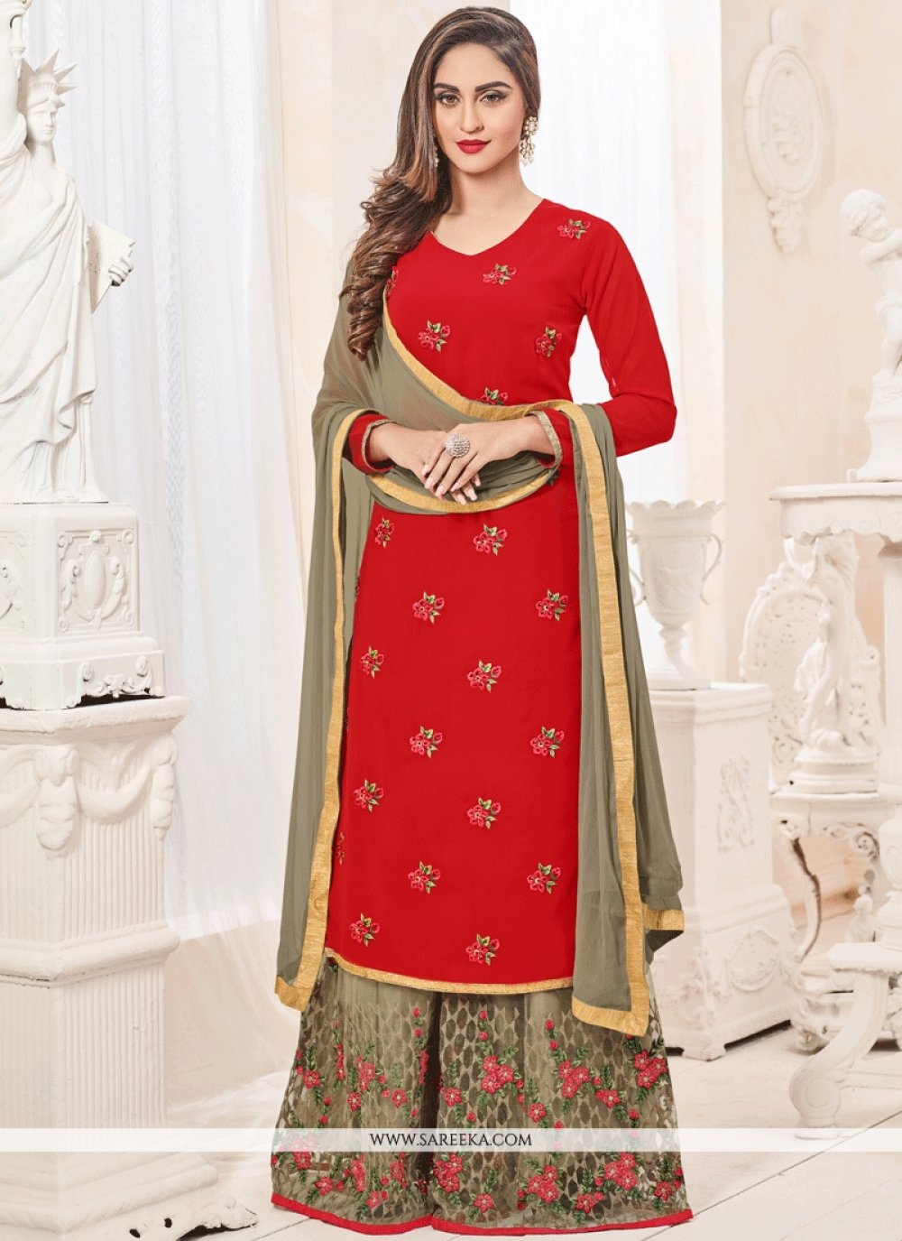 Krystle Dsouza Red Lace Work Designer Palazzo Suit