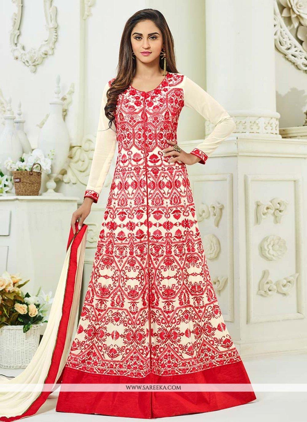 Krystle Dsouza Resham Work Cream and Red Floor Length Anarkali Suit