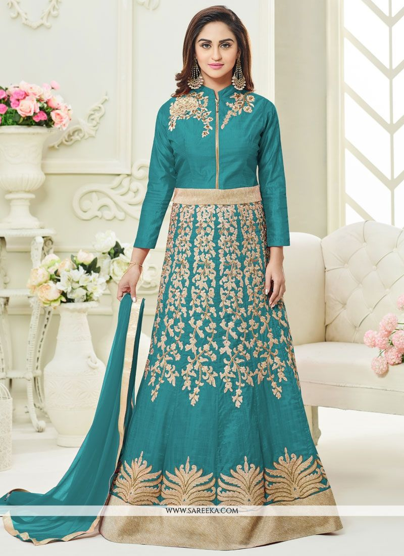 Shop Online Krystle Dsouza Resham Work Floor Length Anarkali Suit ...
