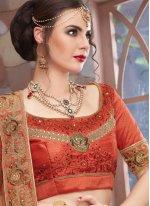 Lace Art Silk Lehenga Choli in Orange