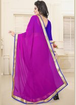 Lace Faux Georgette Casual Saree in Magenta