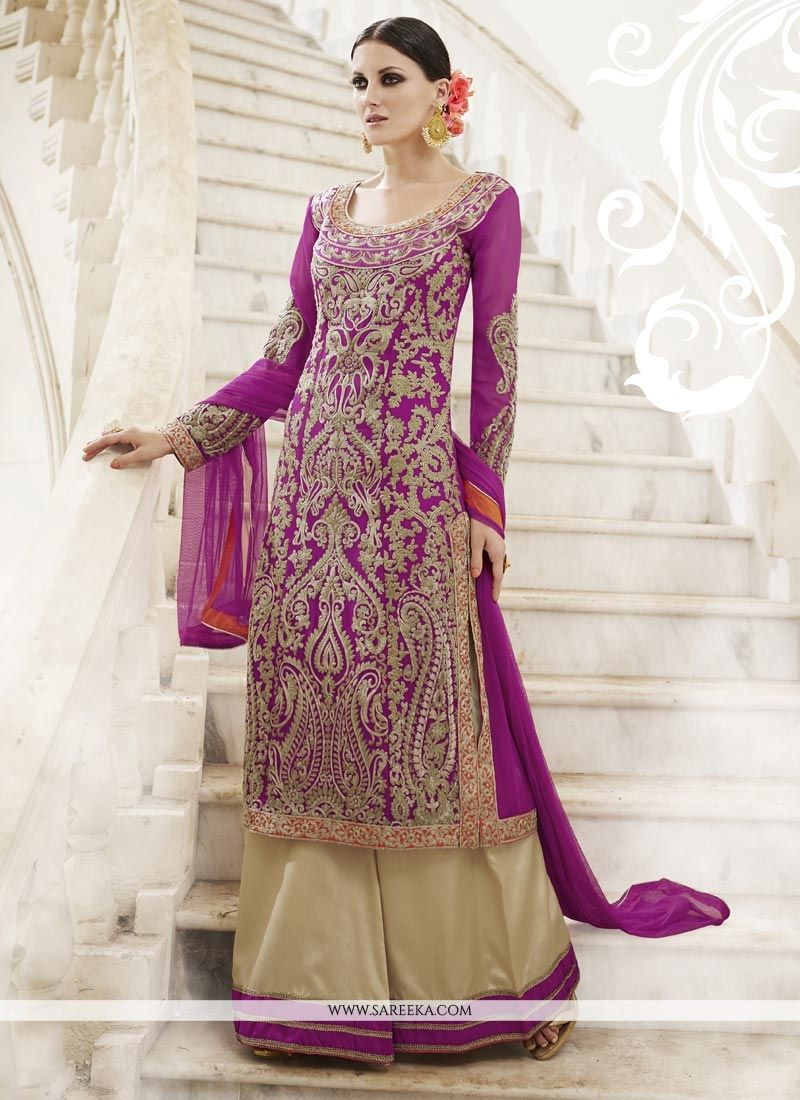 Lace Faux Georgette Designer Palazzo Suit in Magenta