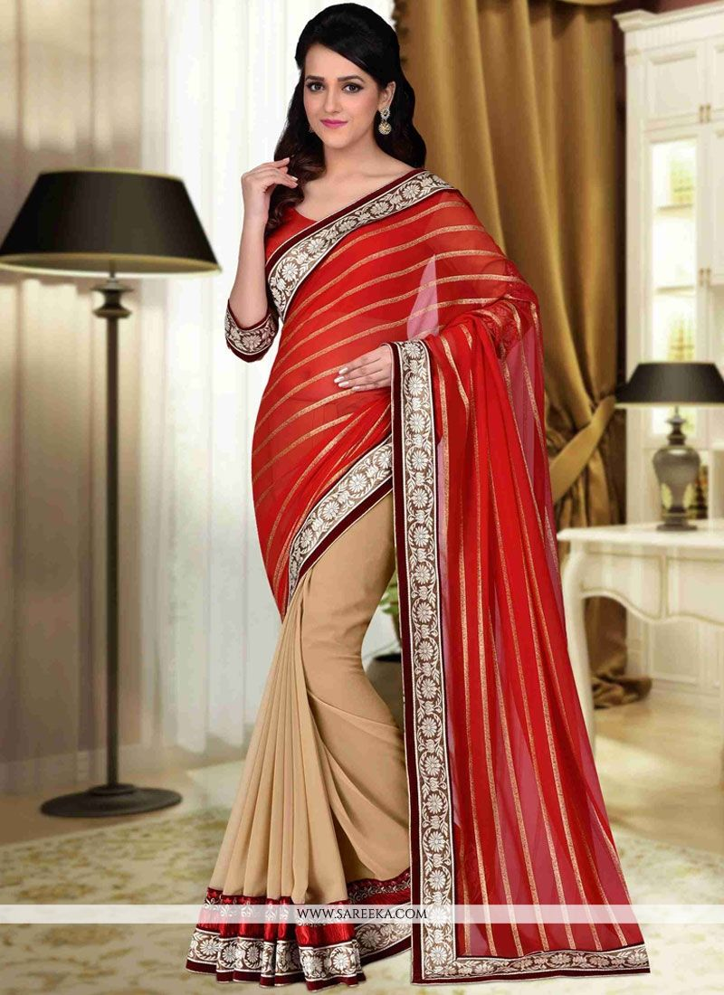 Lace Faux Georgette Half N Half Designer Saree in Beige and Red