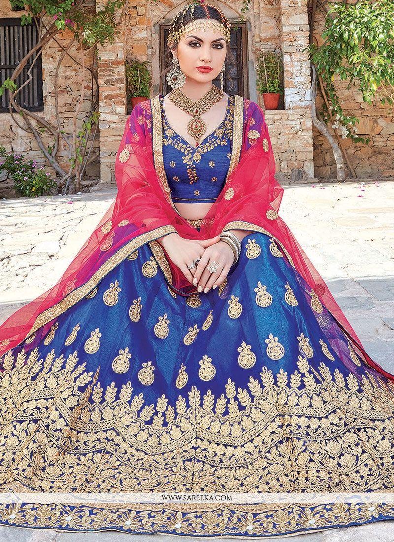 Lace Net Lehenga Choli in Blue