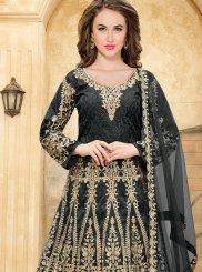 Lace Tafeta silk Floor Length Anarkali Suit in Black