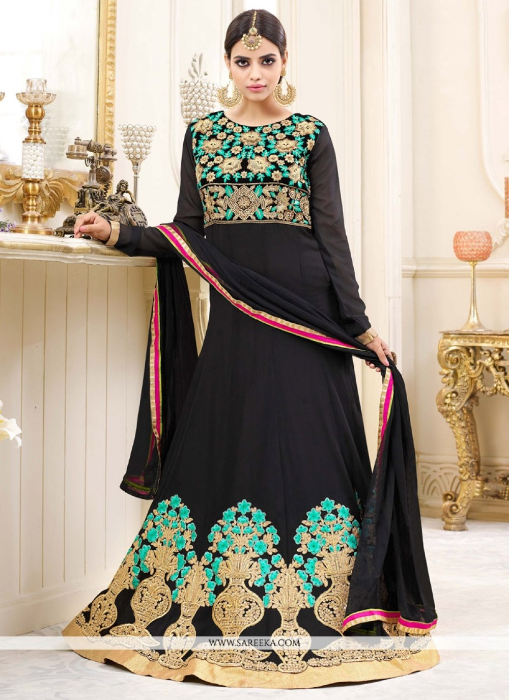 Lace Work Black Floor Length Anarkali Suit