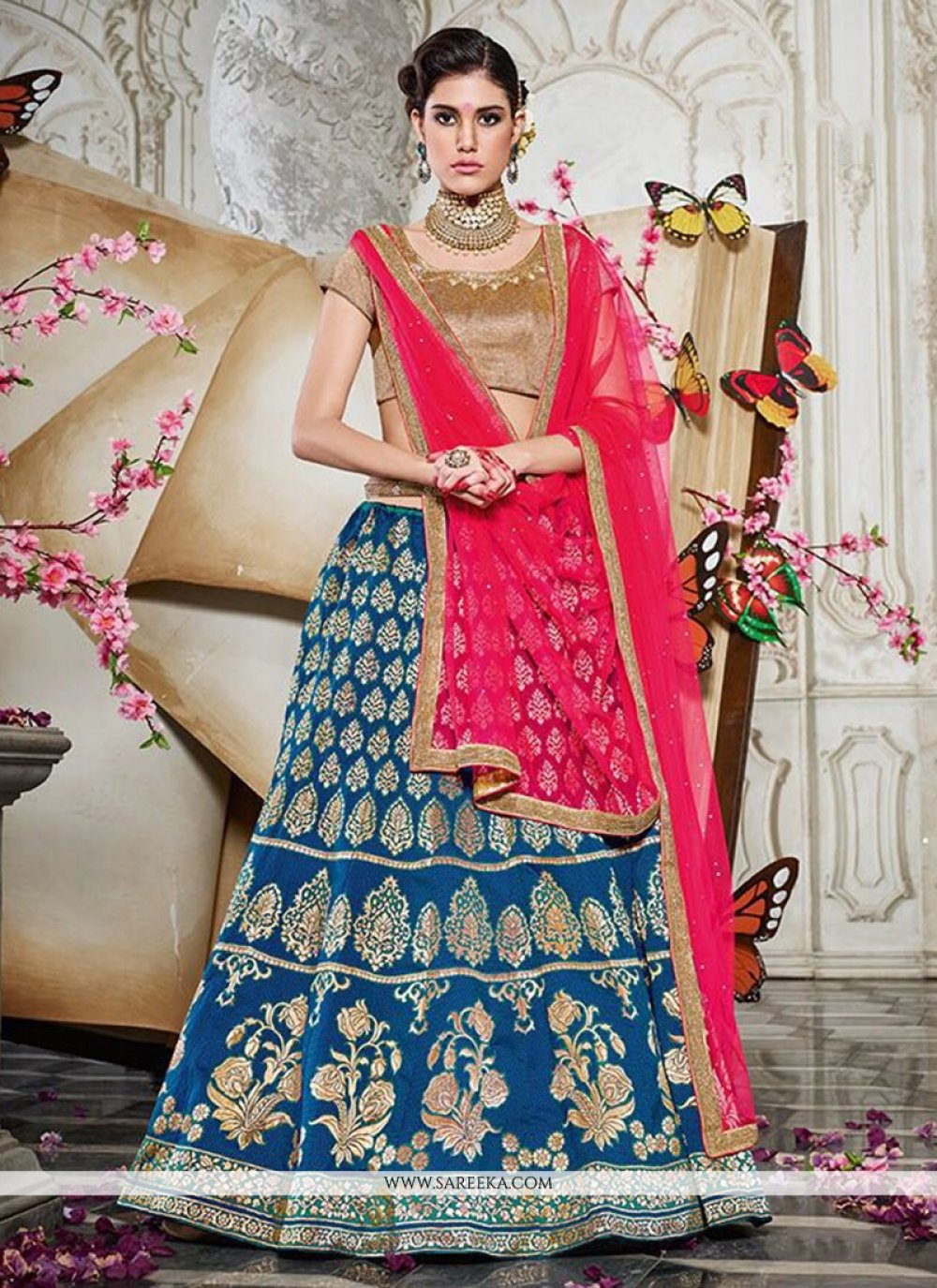 Lace Work Blue and Hot Pink Lehenga Choli