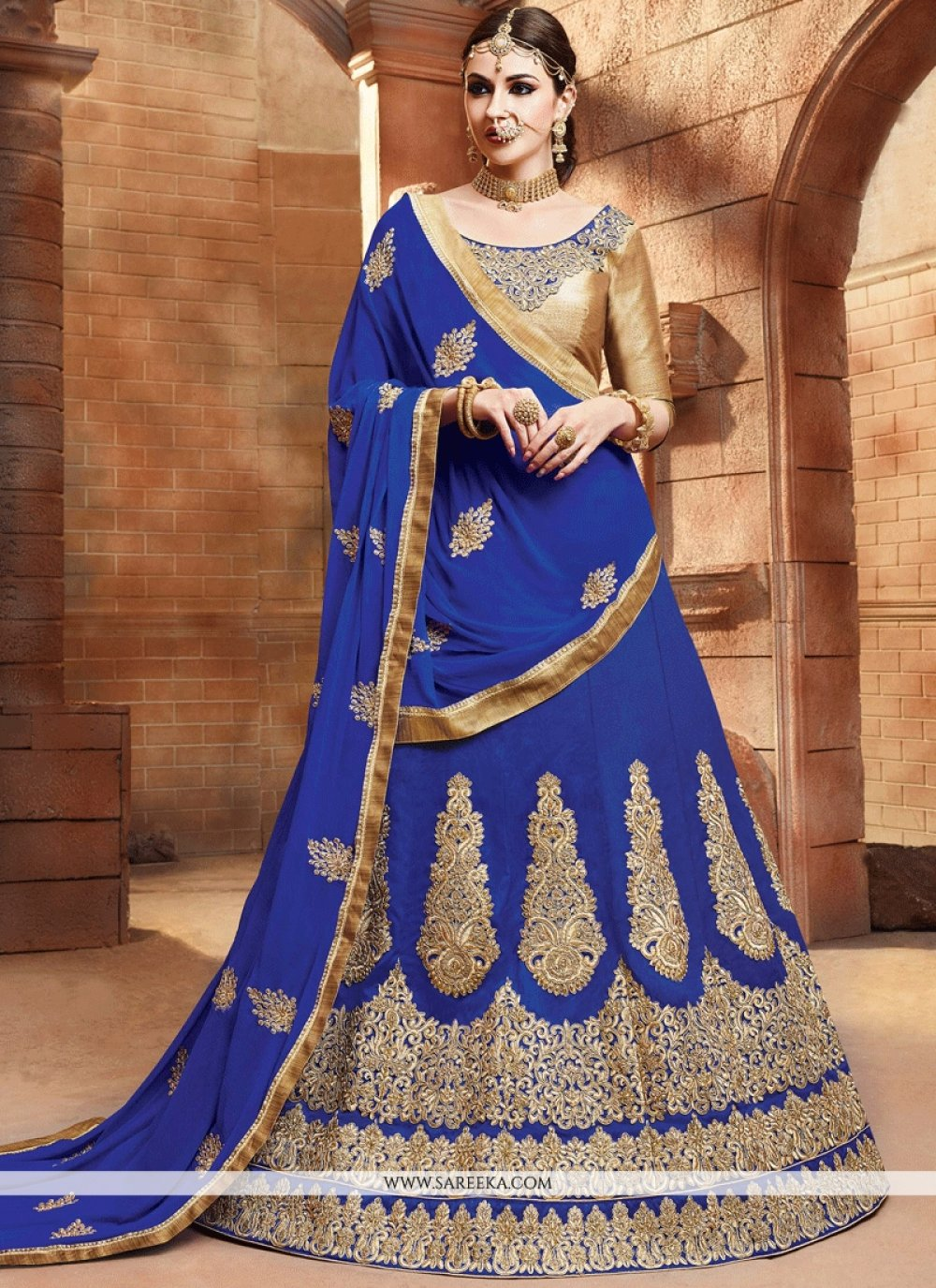Lace Work Blue Lehenga Choli