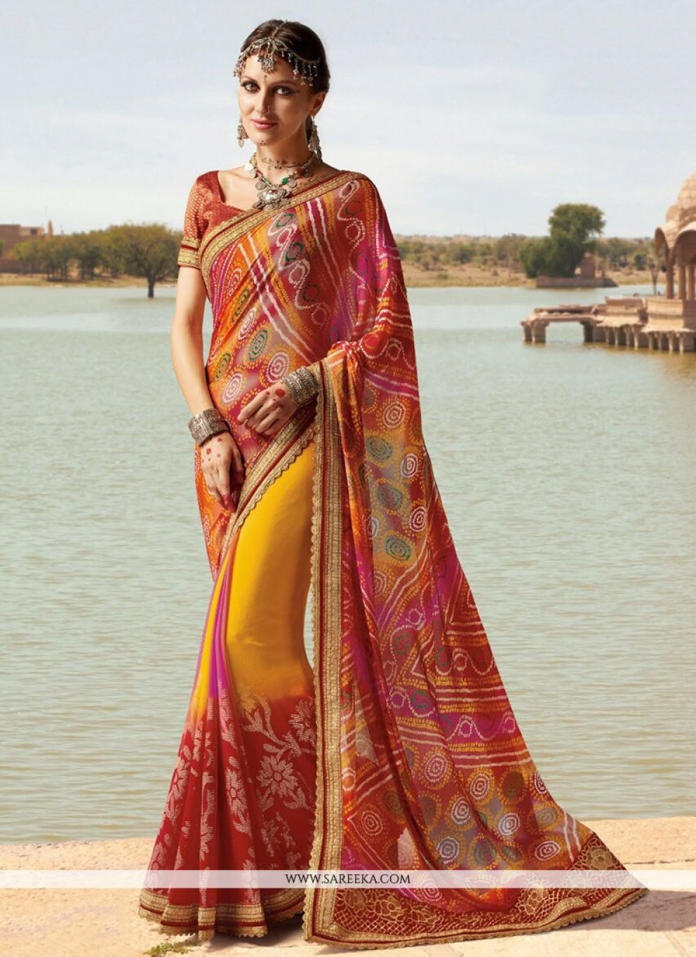 Lace Work Faux Georgette Printed Saree
